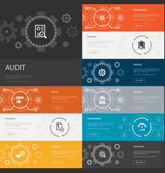 Audit infographic 10 line icons banners review vector