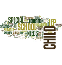 Autism and the school system text background word vector