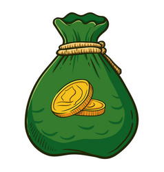 Bag full of gold coins vector