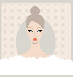 beautiful caucasian young woman taking bath with vector image