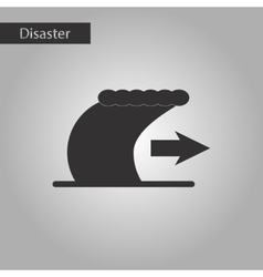 Black and white style icon tsunami movement vector