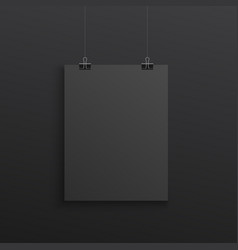 black poster hanging with binder clips - realistic vector image