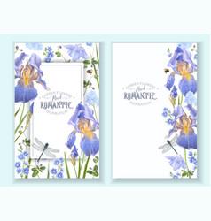Blue flower banners vector