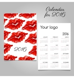 Bright calendar with image lip of red lipstick vector image