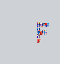 business people crowd forming shape letter f vector image