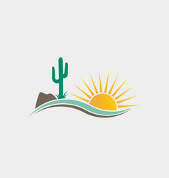 Cactus desert western logo vector