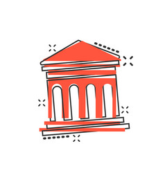 cartoon bank building icon in comic style museum vector image