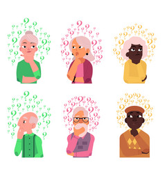 cartoon old people qestions thinking set vector image