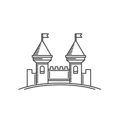 castle fortress logo icon flat style tower line vector image