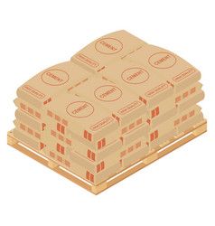 Cement bags stacked on wooden pallet paper sacks vector