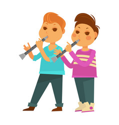 children boys kindergarten or school playing music vector image
