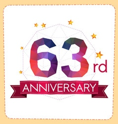 Colorful polygonal anniversary logo 2 063 vector