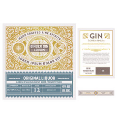 complete vintage label with gin liquor design vector image