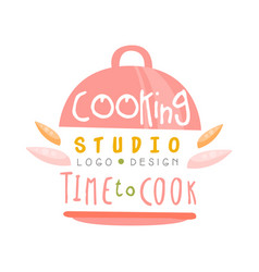 Cooking studio time to cook logo design kitchen vector