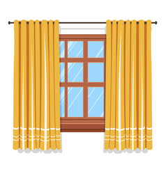 curtains on window isolated icon blinders or vector image