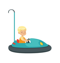 cute little boy riding bumper car kid have a fun vector image vector image