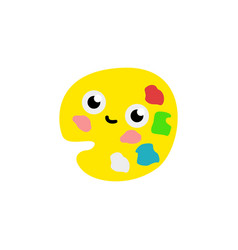 cute palette with colorful paints cartoon vector image