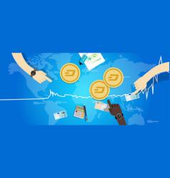 dash coin increase exchange value digital virtual vector image