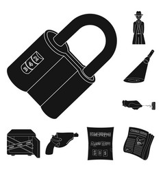 Detective agency black icons in set collection for vector