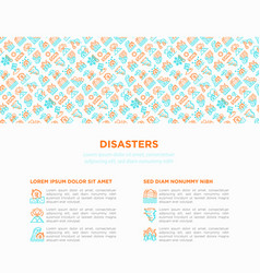 disasters concept with thin line icons vector image