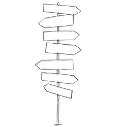 Drawing empty old wooden road seven directions vector