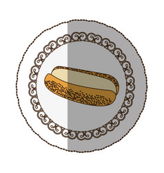 Emblem hot dog bread icon vector