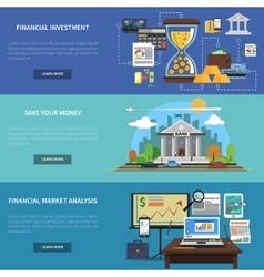 Finance Banner Horizontal Set vector