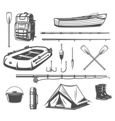 Fishing sport equipment sketch of fisherman tackle vector