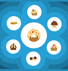 Flat cake set of confectionery sweetmeat muffin vector