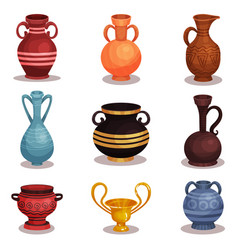 Flat set of various amphoras ancient greek vector