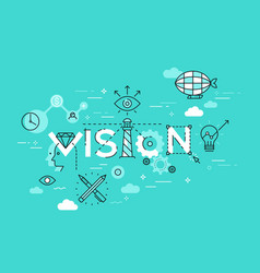 flat style thin line banner design vision vector image