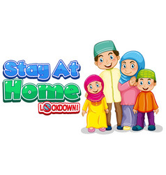 Font design for words stay at home with happy vector