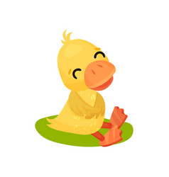 Funny smiling little yellow duckling character vector