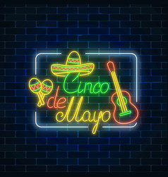 Glowing neon sinco de mayo holiday sign in vector