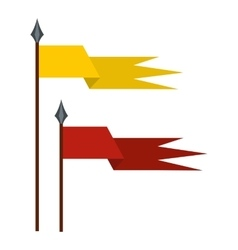 Gold and red medieval flags icon flat style vector