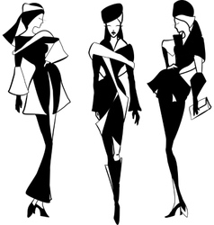Graphic vintage women silhouettes vector image