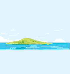 Green island in sea in flat style vector