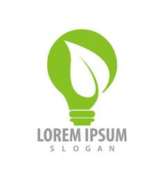 green leaf bulb logo concept design symbol vector image