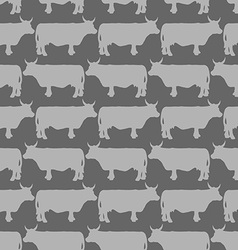 Grey cows graze seamless pattern background of vector