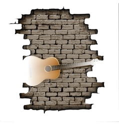Guitar in the doorway of brick wall vector