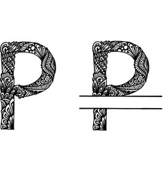 Hand drawn letter p vector