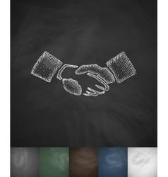 Handship icon Hand drawn vector