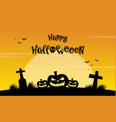 Happy halloween yellow background with grave vector