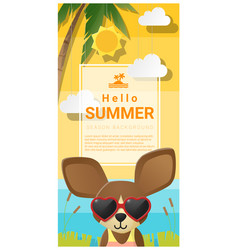 Hello summer background with dog vector