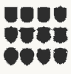 heraldic shields icons set silhouettes vector image