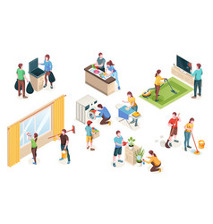 home cleaning laundry washing isometric people vector image