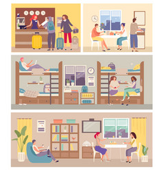 Hostel interior for tourist people settle in vector
