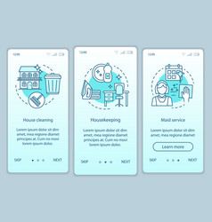 House service onboarding mobile app page screen vector