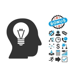 Intellect Bulb Flat Icon with Bonus vector image