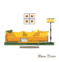 Interior design modern yellow living room trendy vector